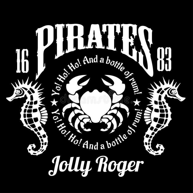 Piraten-Jolly Roger-Symbol Vector Plakat des Schädels mit Piratenaugenklappe, gekreuzte Knochen und Klingen oder Säbel Schwarze F stock abbildung