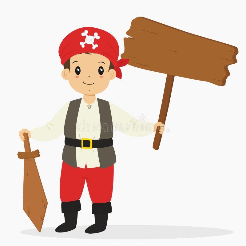 Piraten-Junge, der ein Holzschild und eine hölzerne Klinge, Halloween-Karikatur-Vektor hält lizenzfreie abbildung