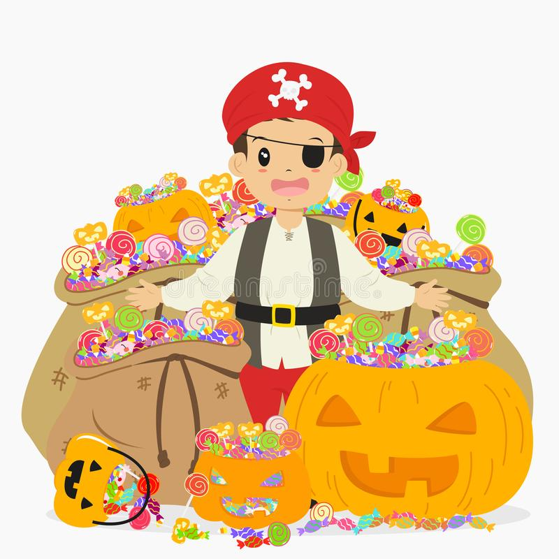 Piraten-Junge umgeben mit Süßigkeits-Schatz, Halloween-Karikatur-Vektor stock abbildung