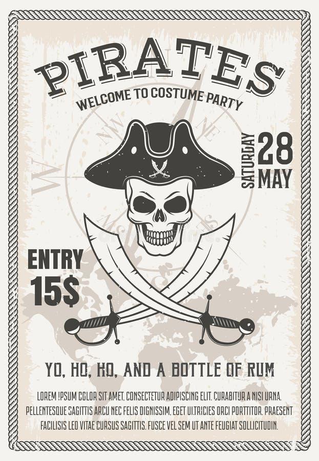 Piraten-Kostüm-Partei-Plakat vektor abbildung