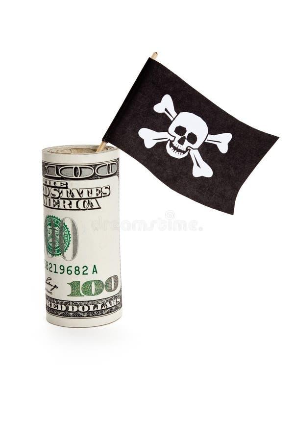 Piraten-Markierungsfahne und Dollar lizenzfreie stockbilder