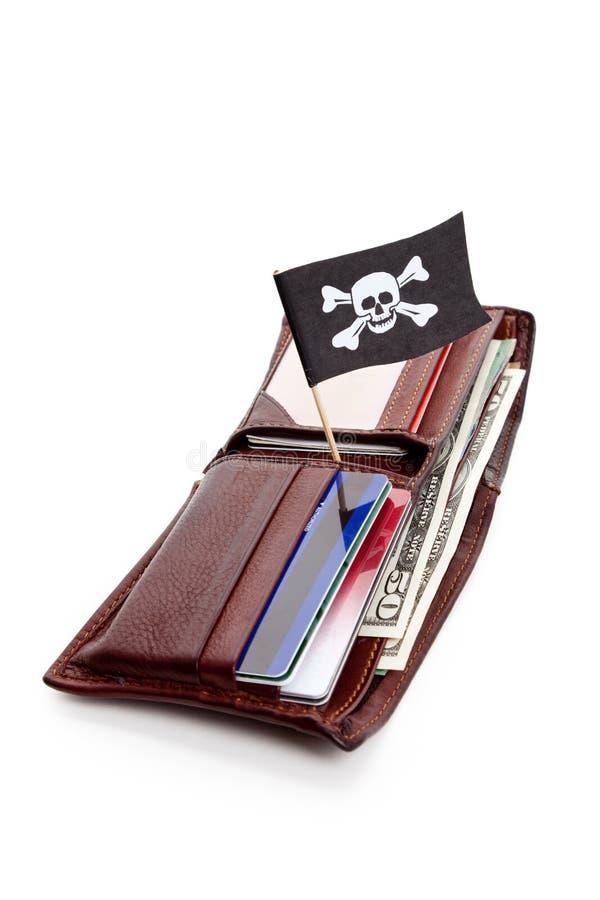 Piraten-Markierungsfahne und Mappe stockfotografie