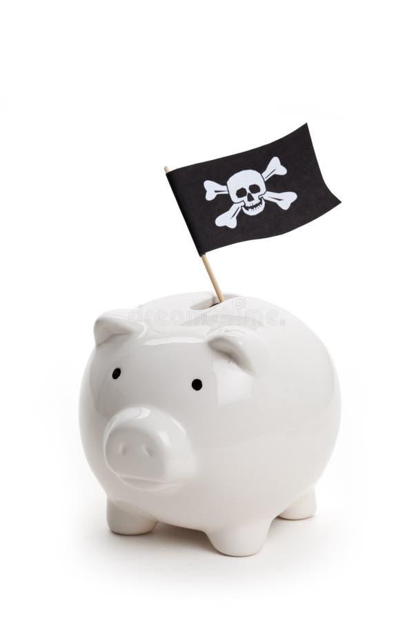 Piraten-Markierungsfahne und Piggy Querneigung lizenzfreies stockbild