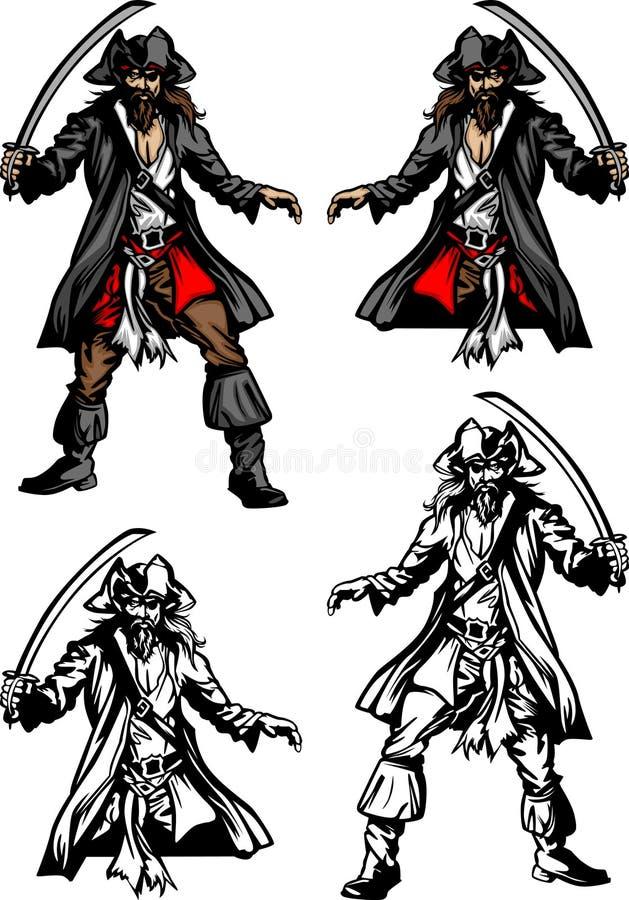 Piraten-Maskottchen-Zeichen lizenzfreie abbildung