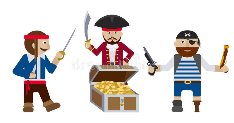 Piraten mit flachem Vektor der Schatztruhe vektor abbildung