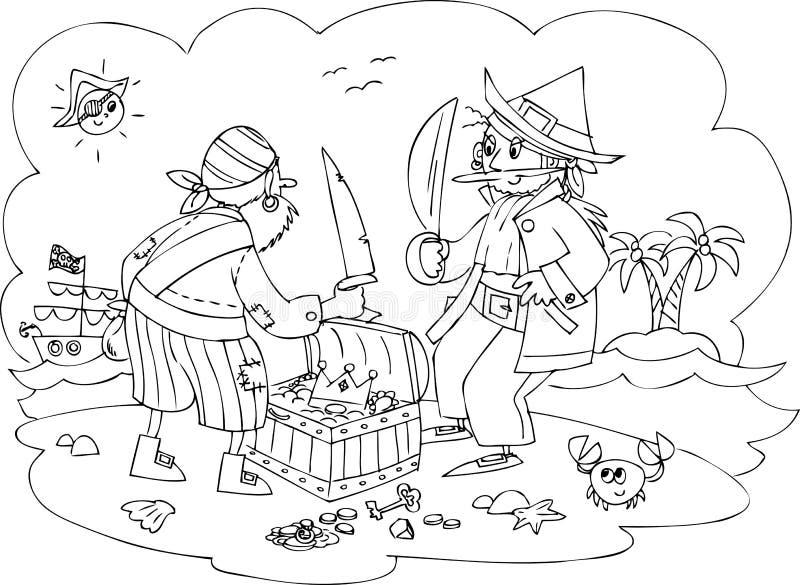 Piraten mit Schatz lizenzfreie abbildung