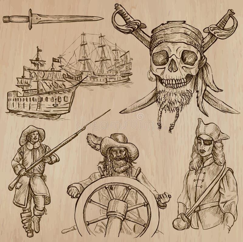 Piraten (nein 5) - ein Hand gezeichneter Vektorsatz lizenzfreie abbildung