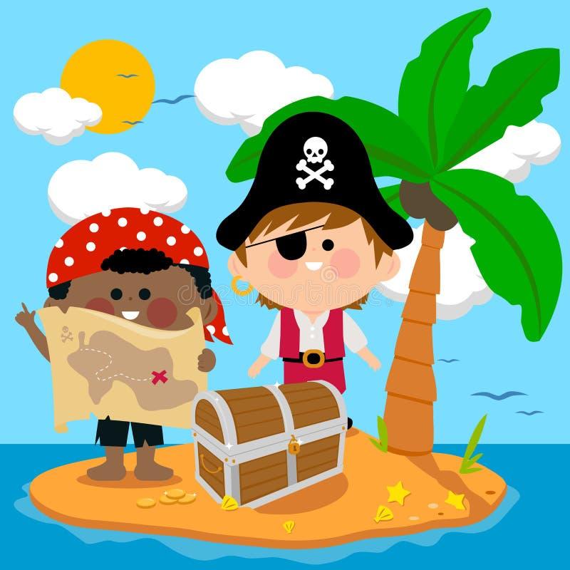 Piraten op schateiland stock illustratie