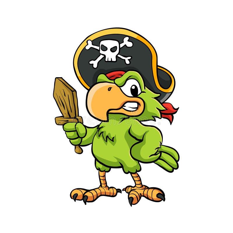 Piraten-Papageien-Karikatur-Illustration lizenzfreie abbildung