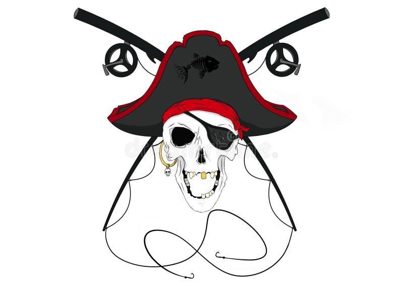 Piraten-Schädel mit den gekreuzten Angelruten Vor-farbig stockbilder