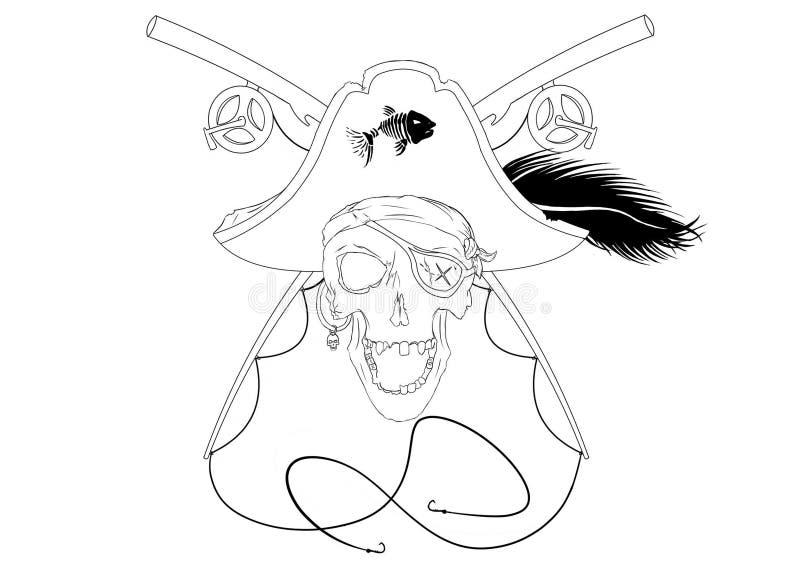 Piraten-Schädel mit gekreuzten Angelruten mit Plume Black And White lizenzfreies stockfoto