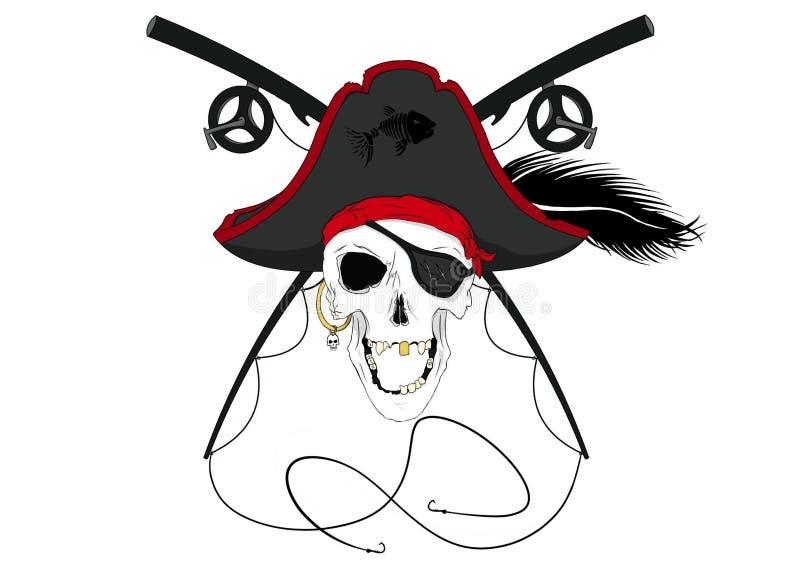 Piraten-Schädel mit gekreuzten Angelruten mit Plume Pre-Colored lizenzfreie stockfotografie