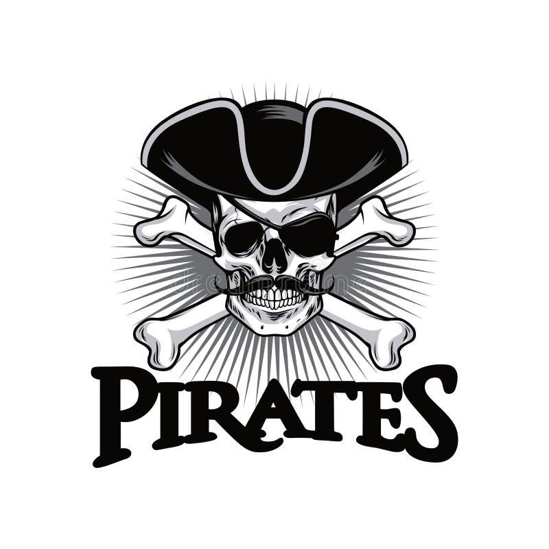 Piraten-Schädel mit Schnurrbart-Kreuz entbeint Hut und Augenklappe Logo Design Vector Illustration stock abbildung