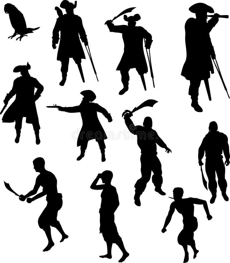 Piraten-Schattenbilder stock abbildung