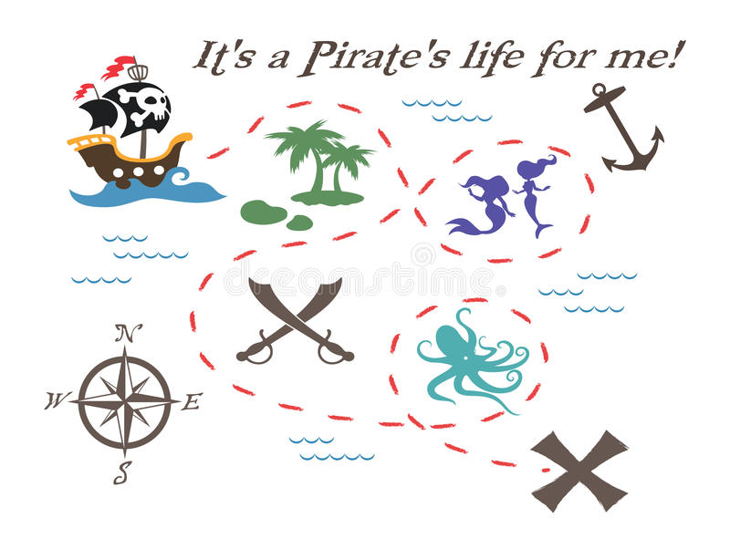 Piraten-Schatz-Karten-Illustration stockfotografie