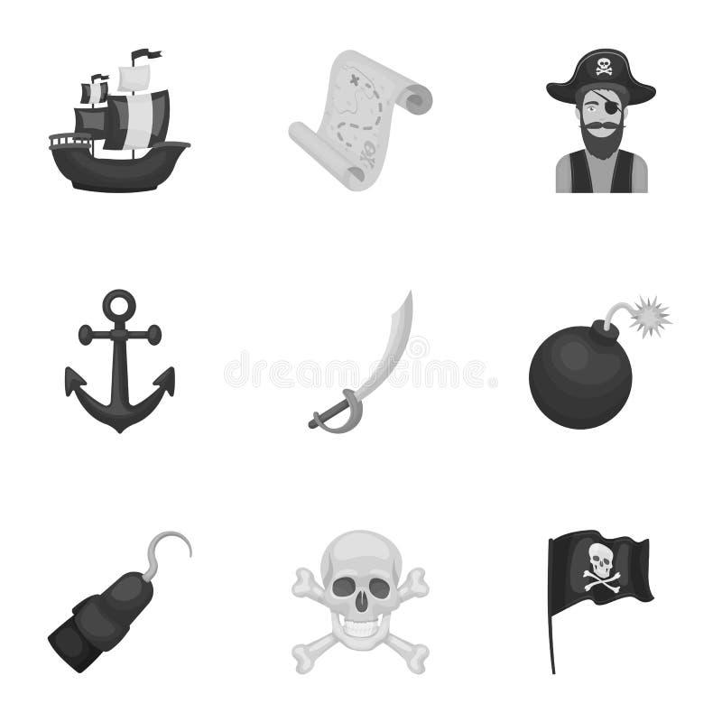 Piraten stellten Ikonen in der einfarbigen Art ein Große Sammlung Piraten vector Illustration des Symbols auf Lager lizenzfreie abbildung