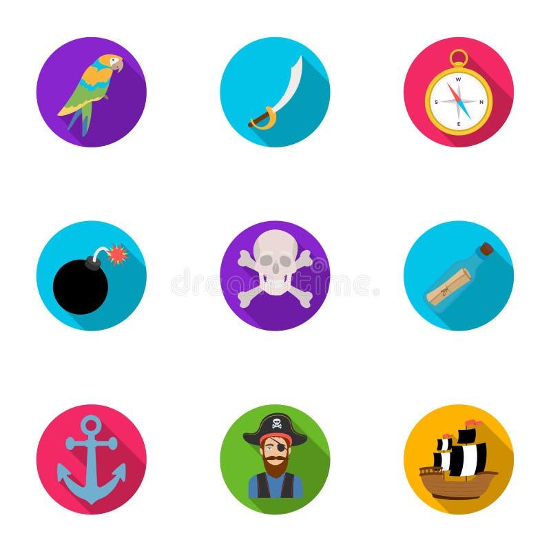 Piraten stellten Ikonen in der flachen Art ein Große Sammlung Piraten vector Illustration des Symbols auf Lager vektor abbildung