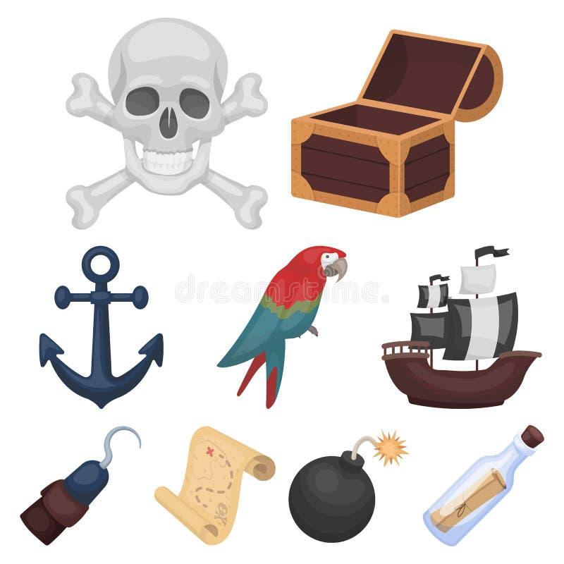 Piraten stellten Ikonen in der Karikaturart ein Große Sammlung Piraten vector Illustration des Symbols auf Lager lizenzfreie abbildung
