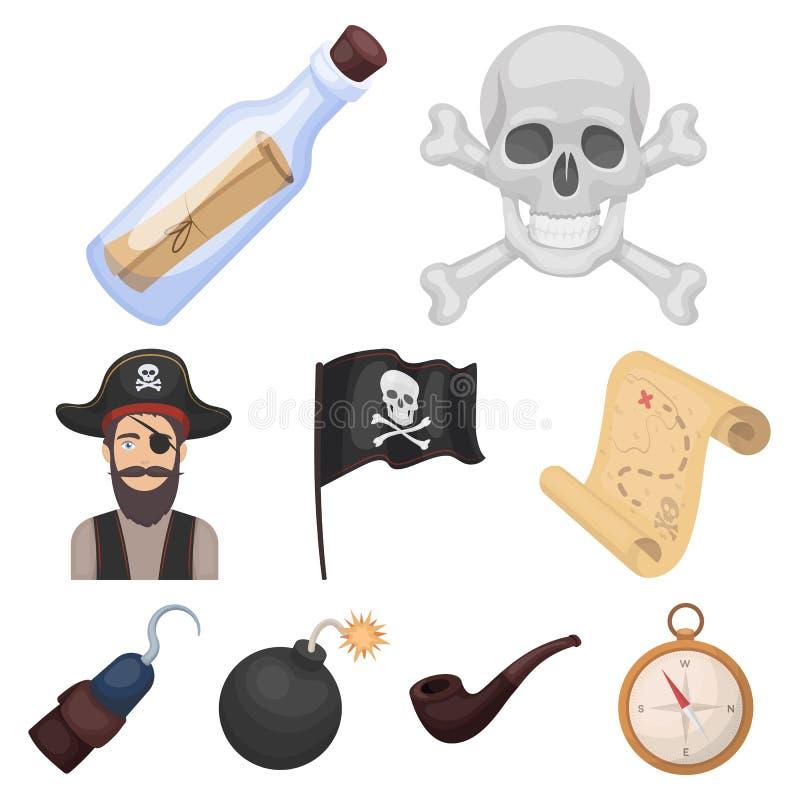 Piraten stellten Ikonen in der Karikaturart ein Große Sammlung Piraten vector Illustration des Symbols auf Lager vektor abbildung