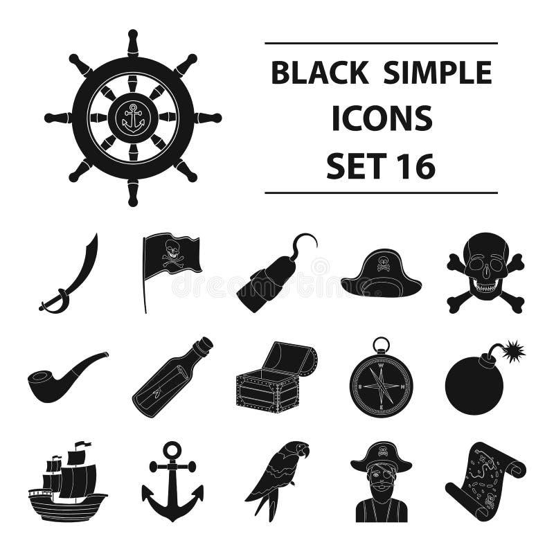 Piraten stellten Ikonen in der schwarzen Art ein Große Sammlung Piraten vector Illustration des Symbols auf Lager vektor abbildung