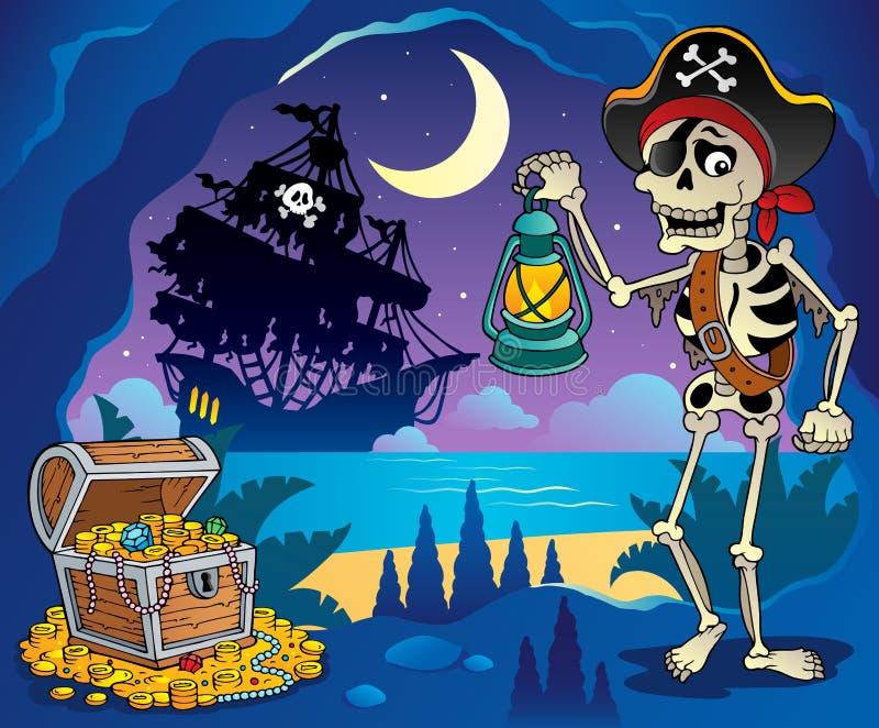 Piratenbucht-Themabild 2 vektor abbildung