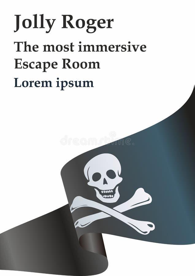 Piratenflagge mit dem Totenkopf mit gekreuzter Knochen Traditionelle ?Jolly Roger ?der Piraterie Schablone f?r den Entwurf von Pl lizenzfreie abbildung