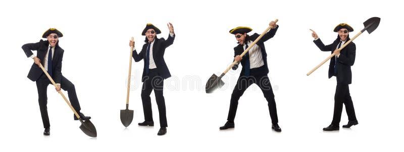 Piratengesch?ftsmann, der Spaten lokalisiert auf Wei? h?lt lizenzfreie stockfotos