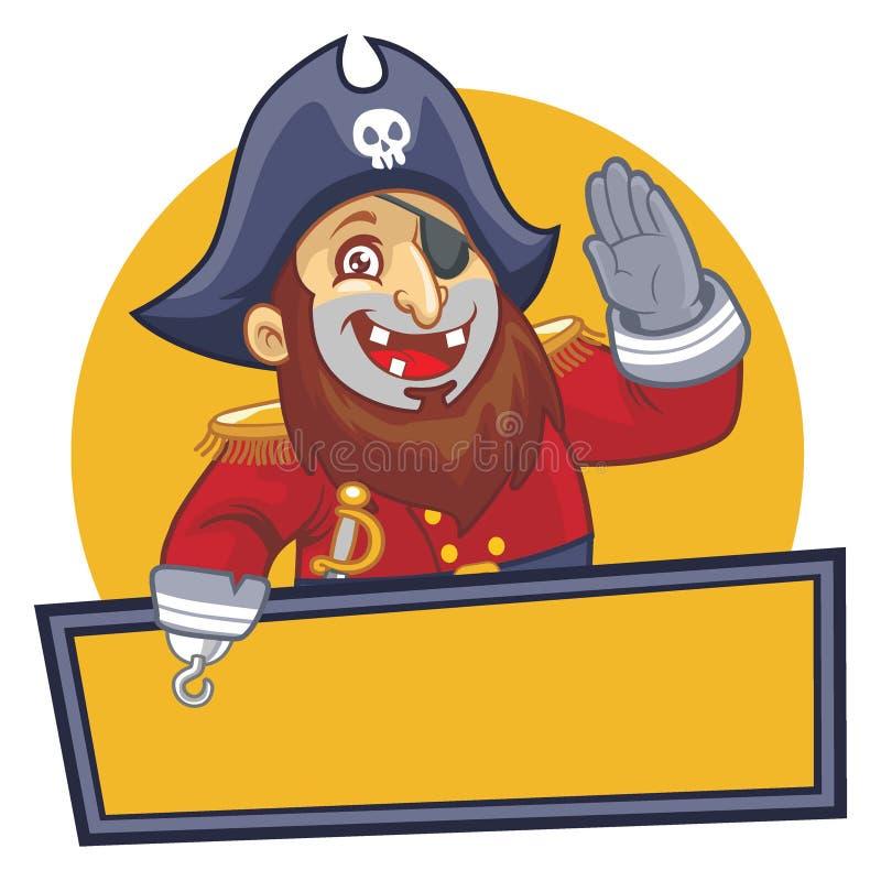 Piratengruß mit leerem Zeichen lizenzfreie abbildung