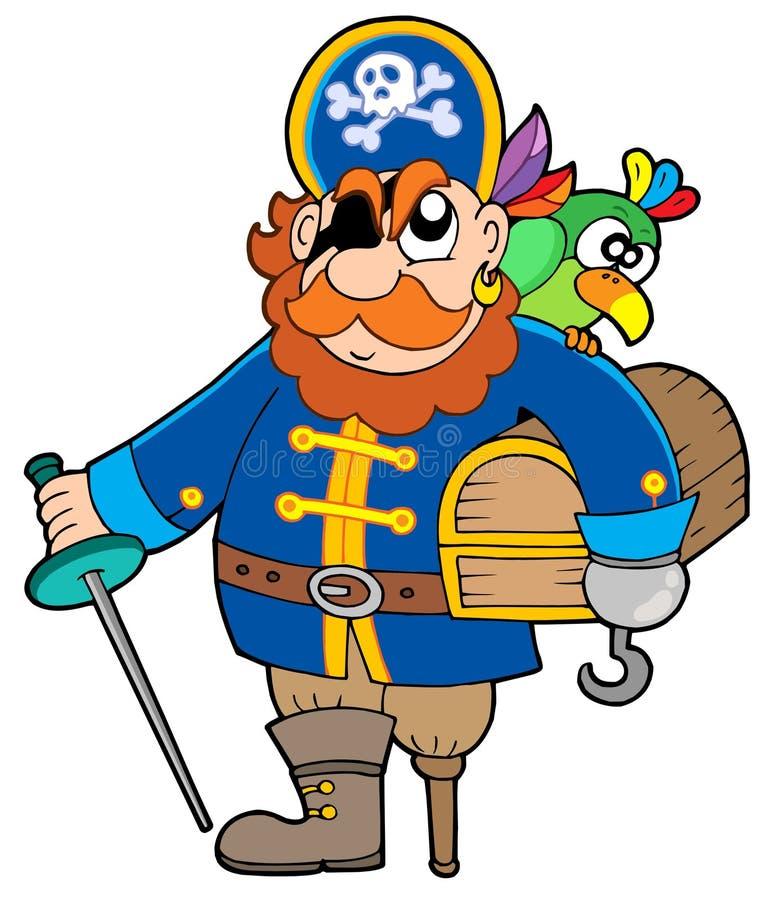 Piratenholding-Schatzkasten lizenzfreie abbildung