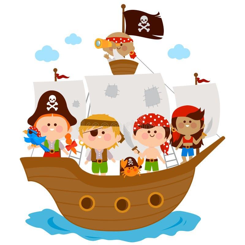 Piratenjungen und -mädchen, die auf ein Schiff in dem Meer segeln lizenzfreie abbildung