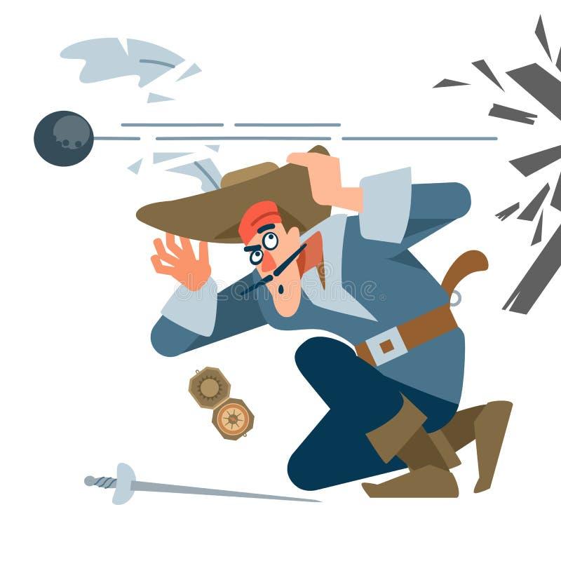 Piratenkapitän in der Schlacht, in Angst vor dem Feind Cannonball brüllt Der Charakter des Piraten Vektorgrafik eines vektor abbildung