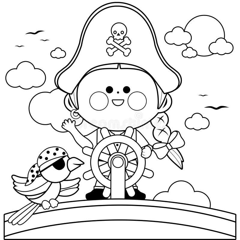 Piratenmädchenkapitän, der auf Schiff mit Lenkrad segelt Schwarzweiss-Malbuchseite lizenzfreie abbildung