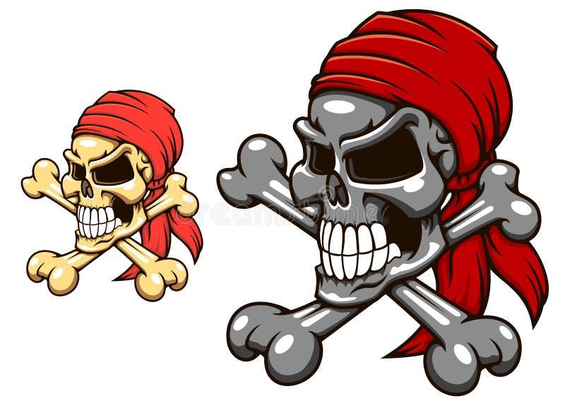 Piratenschädel mit gekreuzten Knochen lizenzfreie abbildung