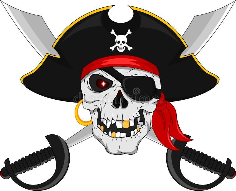 Piratenschädel und gekreuzte Klingen lizenzfreie abbildung