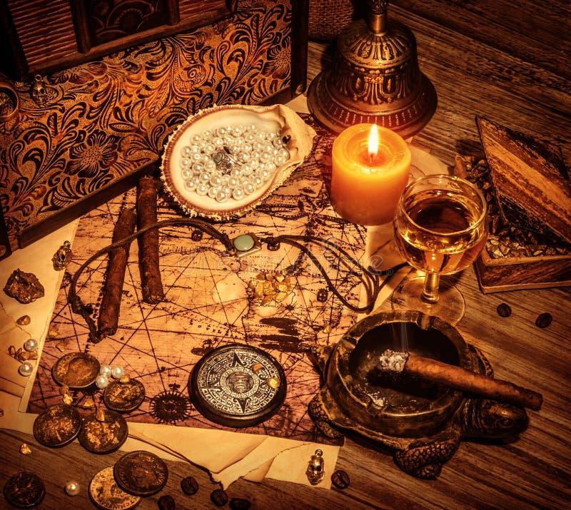 Piratenschatzhintergrund stockfotografie
