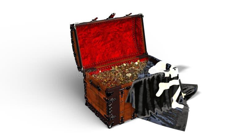 Piratenschatztruhe mit Goldmünzen und die Piratenschädelflagge, die auf weißem Hintergrund lokalisiert wird, 3D übertragen lizenzfreie abbildung