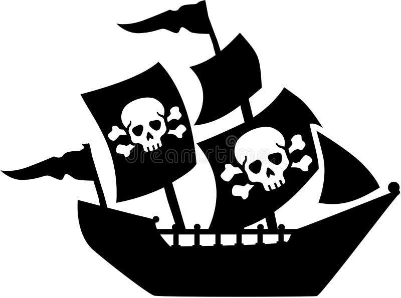 Piratenschiff mit dem Segelschädel und -knochen lizenzfreie abbildung