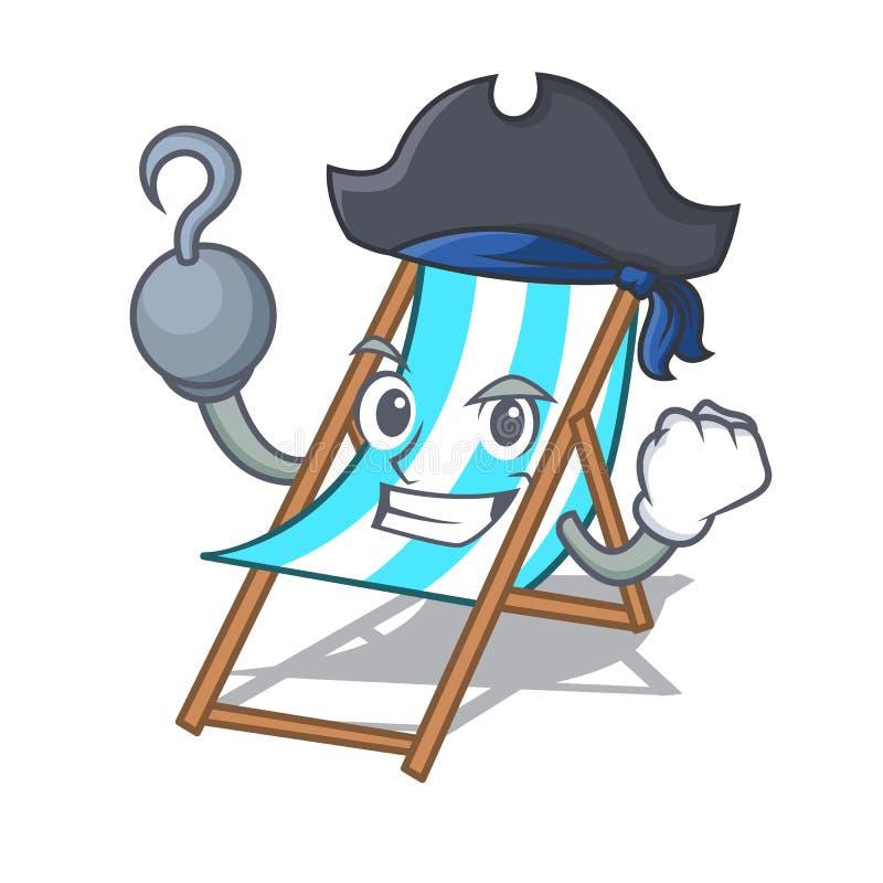 Piratenstrandstuhl-Charakterkarikatur lizenzfreie abbildung