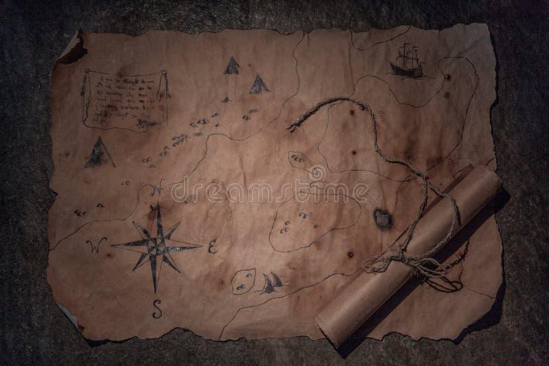 Piratentabelle, Kapitänkabineninnenraum lizenzfreie stockbilder
