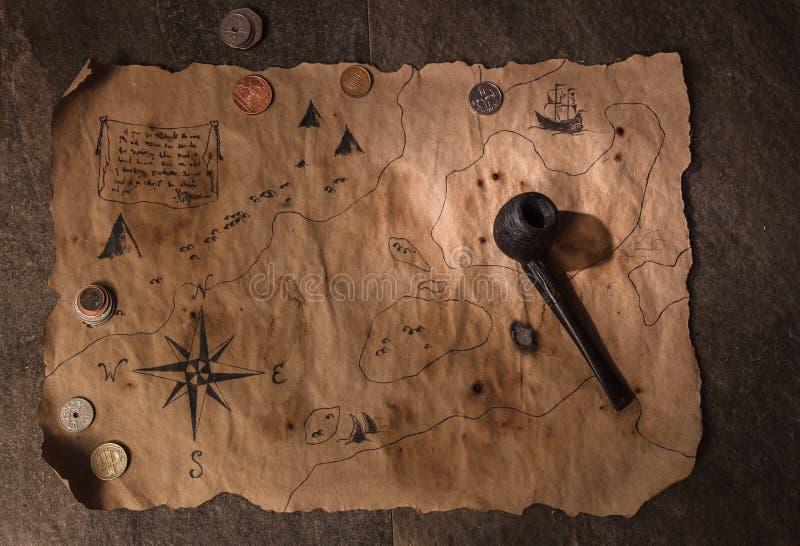 Piratentabelle, Kapitänkabineninnenraum lizenzfreies stockbild