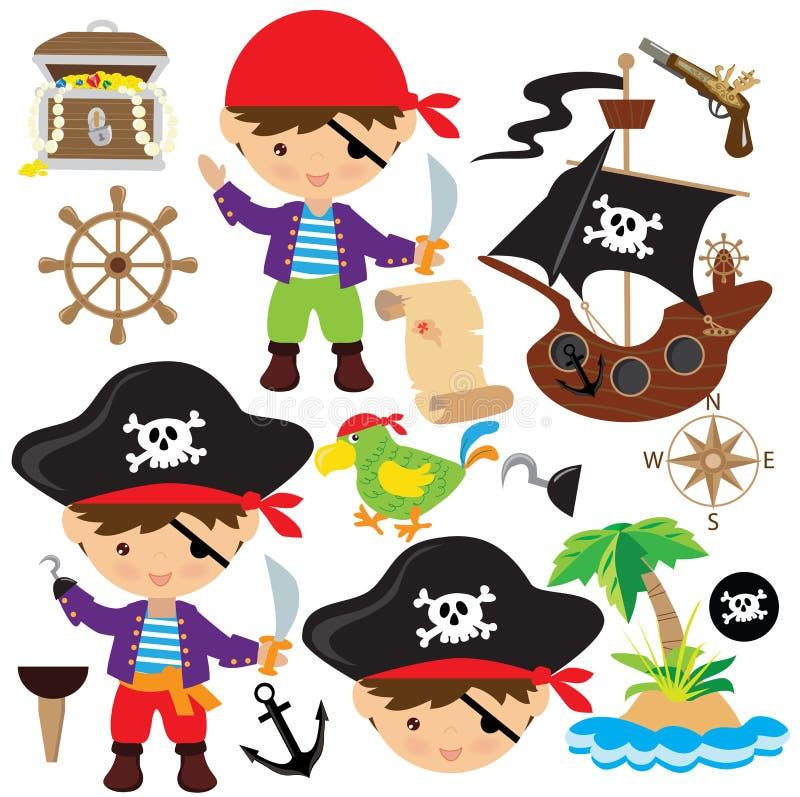 Piratenvektorillustration stockfotos