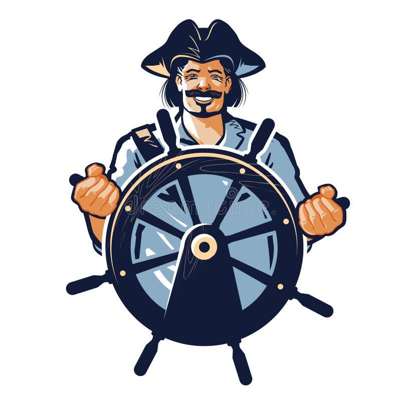 Piratenvektorlogo Seeräuber, Kapitän, Seemann, Seemannikone stock abbildung