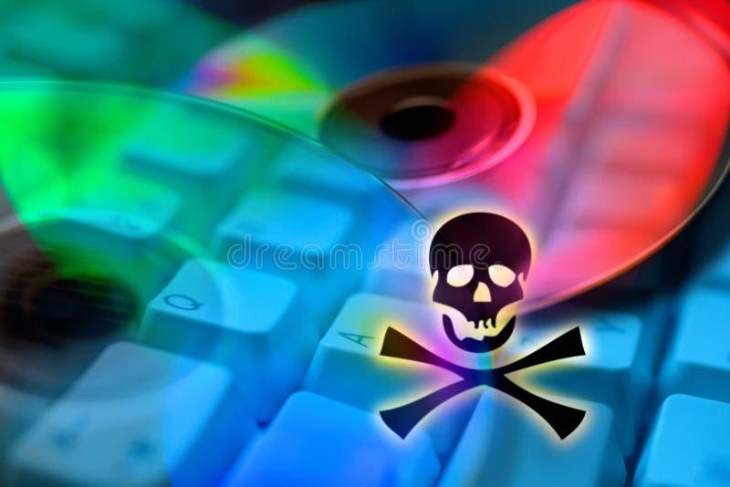 Piraterie d'Internet - abus illégal de marque déposée - criminalité - DVD Co photographie stock