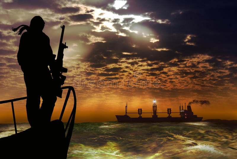 Pirates. An armed man on the bow of a boat, approaches a great commercial ship