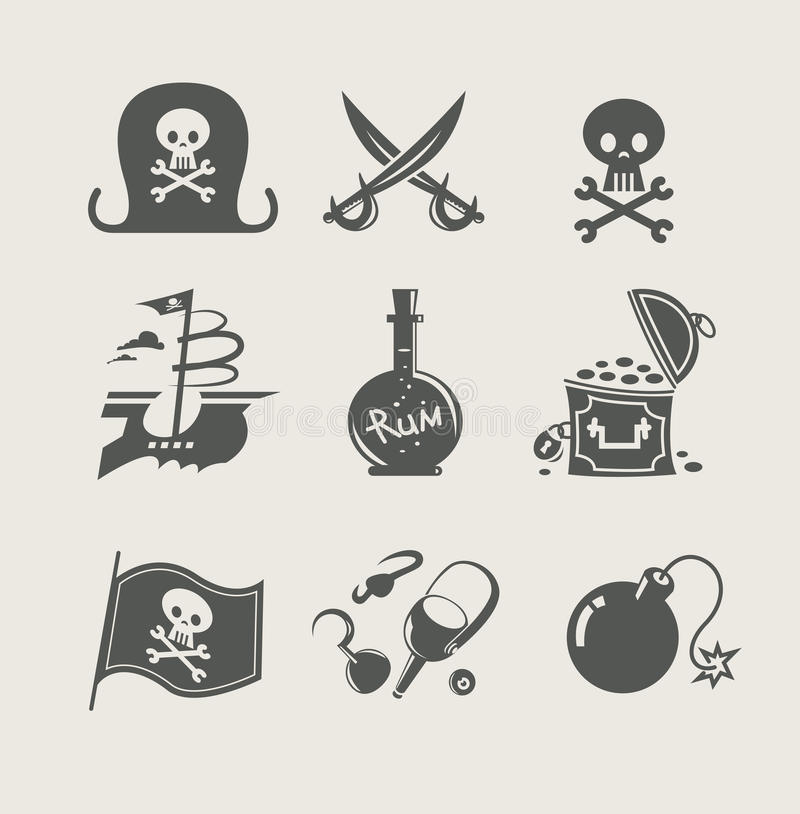 Pirates accessory set of icon. Vector illustration vector illustration