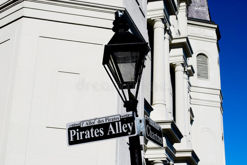 Pirates Alley. In New Orleans, LA stock photo