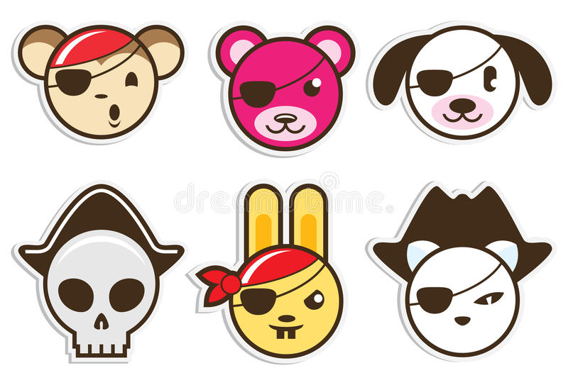 Pirates animaux illustration stock