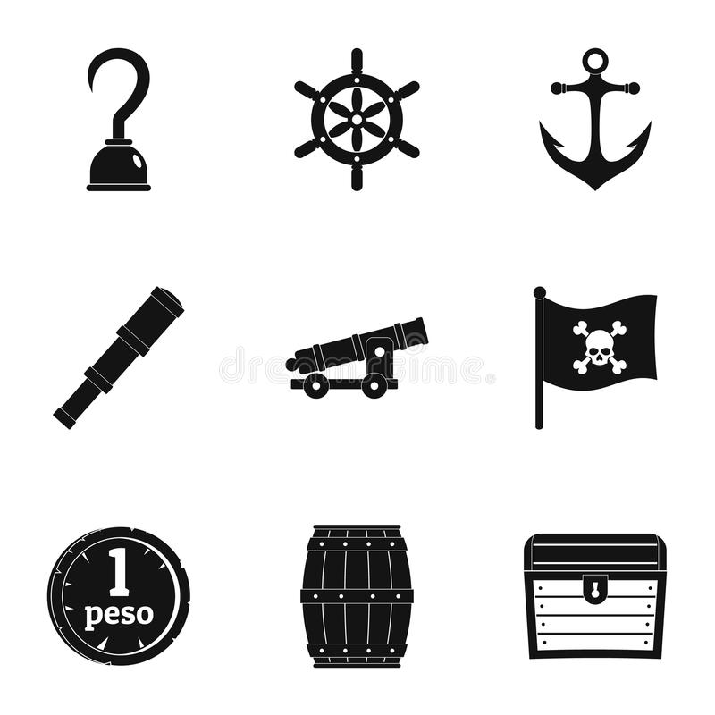 Pirates attributes icon set, simple style stock illustration