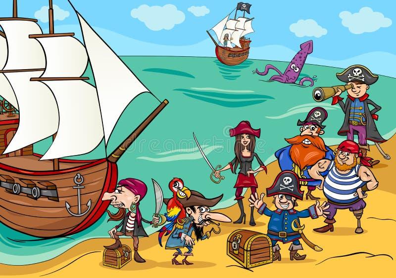 Pirates avec la bande dessinée de bateau illustration stock