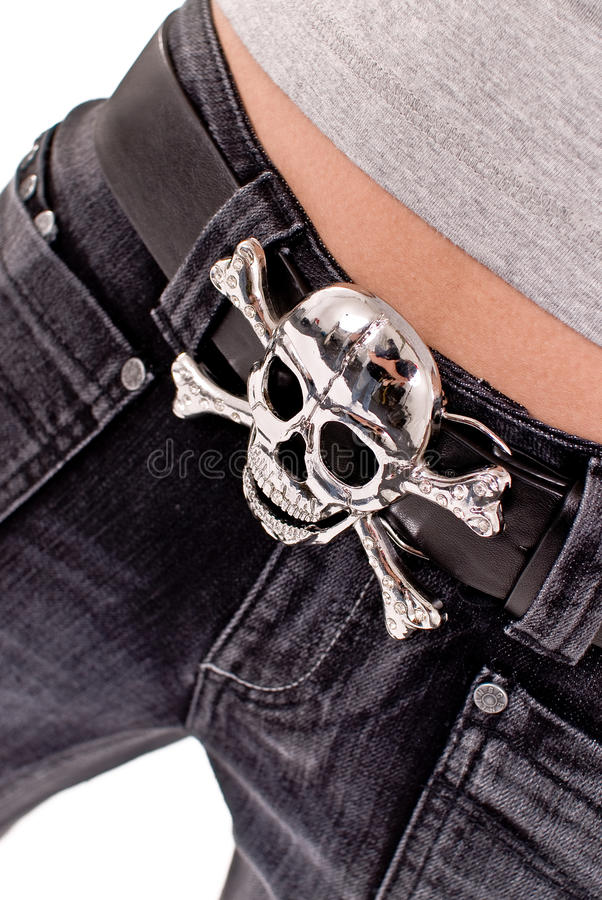 Pirates Belt. The picture shows woman's belly and pirates belt royalty free stock photo